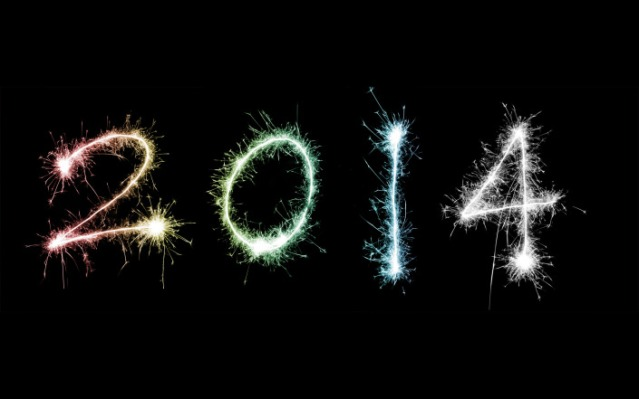 Colourful 2014 in fiery sparklers