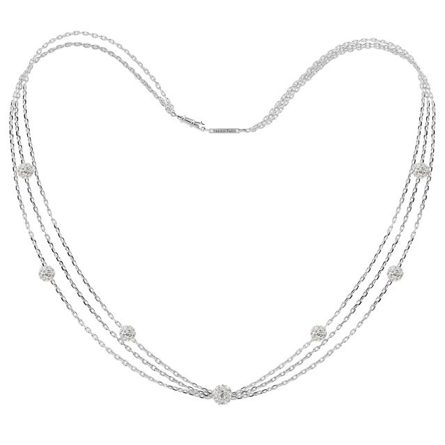 021081 Flocon White Tresor Crystal Beads, White Gold Plated Sterling Silver Necklace, £99